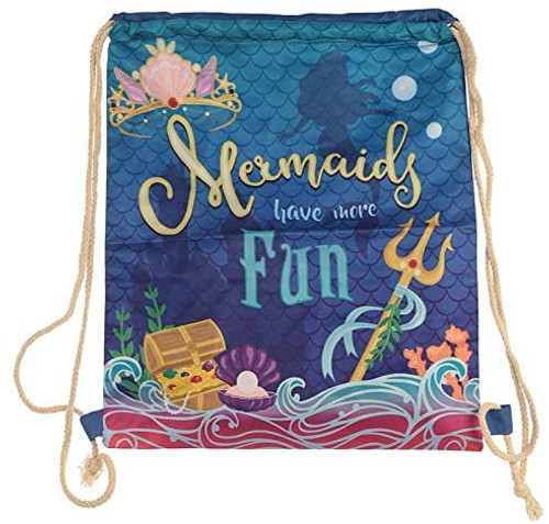 Miss Pretty London Handy Cotton Drawstring Bag - Mermaid Slogan