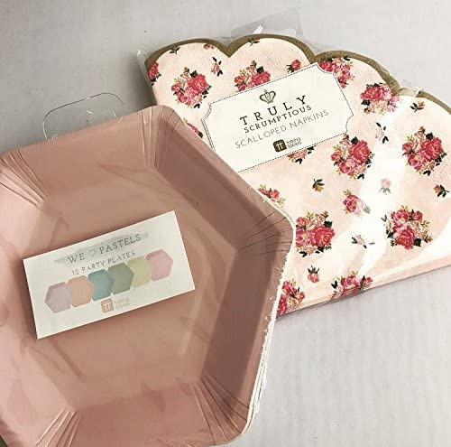 Truly Scrumptious Scalloped Napkins & We Heart Pastel Hexagon Plates Set