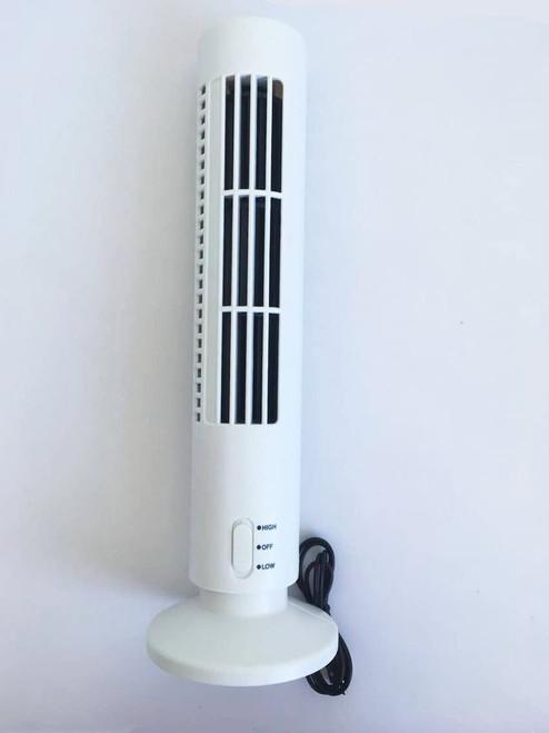 WHITE USB Tower Fan Desk Fan Work Home/ Office Laptop Accessory