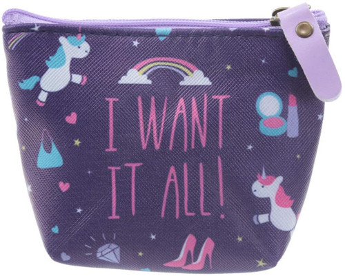 I WANT IT ALL Unicorn PVC Change Purse