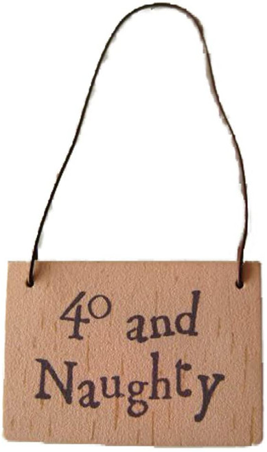 birthday 40 and Naughty wooden gift tag