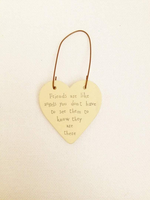Friends are like angels you don't have to see them to know they are there wooden heart gift tag by East of India
