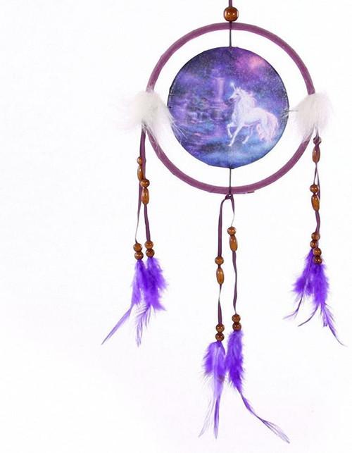 Fantasy Unicorn Dream Catcher Brook, Small, Fabric/Feathers/Plastic, Purple, One Size