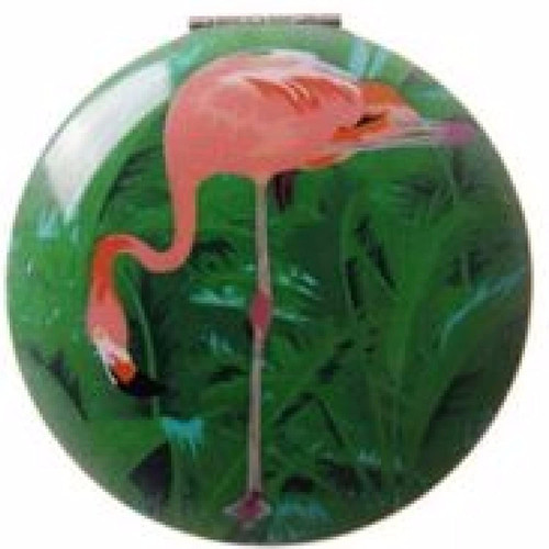 Compact Mirror - Fun Flamingo Design