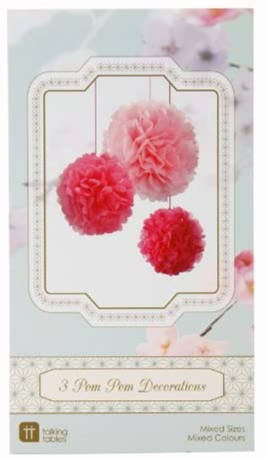 Decadent Decorations Pom Pom for Tea Party and Birthday, Mixed Size, Pink (3 Pack)