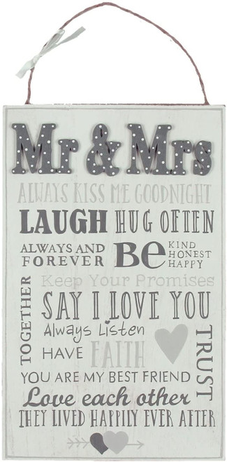 Love Story MDF Plaque - Mr & Mrs Words For Marriage