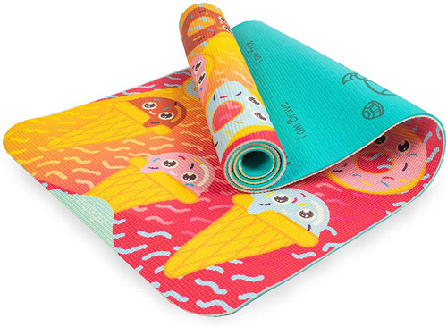 Myga Childrens Yoga Mat - Sweet Tooth Printed Kids Yoga Mat - Childs Exercise Mat for Pilates, Non Slip Multi Purpose Fitness Mat - Core Workout for Home, Gym, Studio