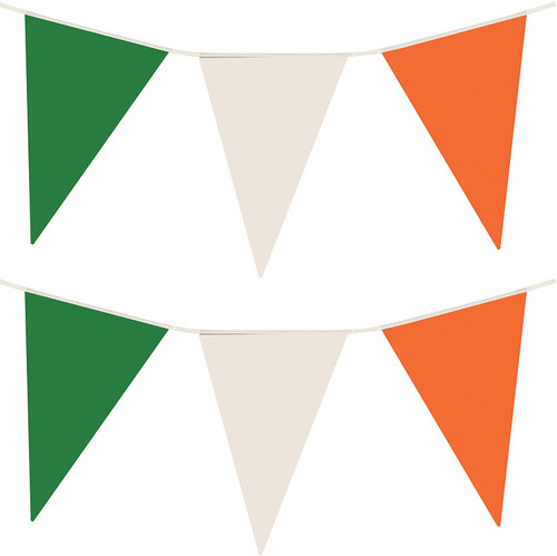St Patrick's Day 25 Pennant Irish 7M Green, White & Orange Bunting Decoration