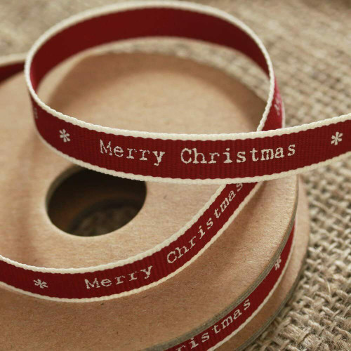 Merry Christmas Ribbon Red White Edging Narrow
