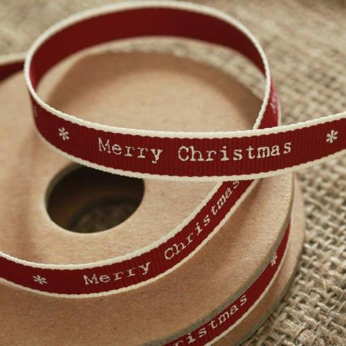 Merry Christmas Ribbon Red White Edging Narrow