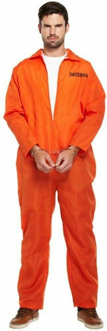 Mens Orange Prisoner Boiler Suit Robber Burglar Prison Break Fancy Dress Costume