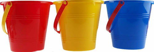 B4E Set Of 10 Childrens Beach Buckets - Bulk Buy- Red Blue Yellow Colour