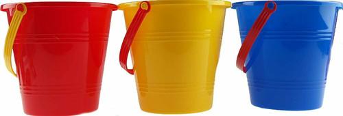 B4E Set Of 10 Childrens Beach Buckets - Bulk Buy- Red Blue Yellow Colour