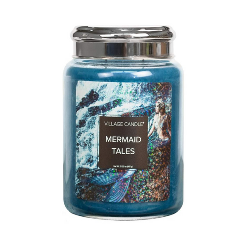 Village Candle Mermaid Tales 26 oz Large Glass Jar Scented Candle