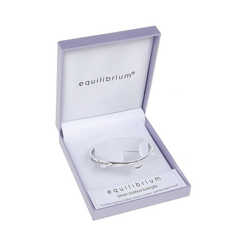 B Equilibrium Silver Plated Bangle - A Mother Holds Her Children's Hand For A While..And Their Hearts Forever
