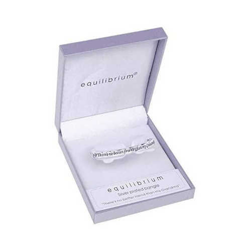 B Equilibrium Two Tone Silver Plated Hinged Bangle for Grandma