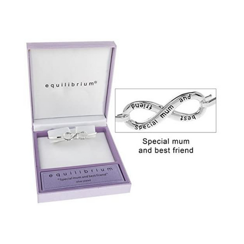 B  Equilibrium Silver Plated Infinity Bangle Mum