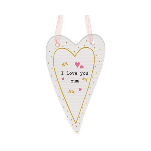 C Joe Davies Mother's Day Thoughtful Ceramic Heart I Love you Mum Nan Grandma Sayings Gift Boxed 10x6cm
