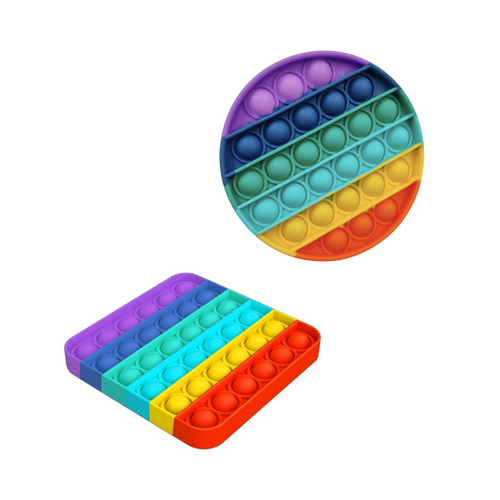 Set of 2 Square and round rainbow Push Pop