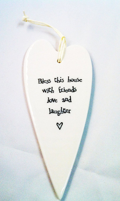NEW! East of India 2035 White Porcelain Hanging Heart Bless This House