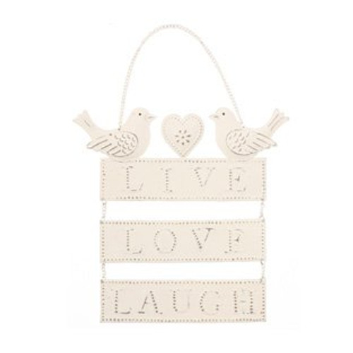 Live Love Laugh Cream Hanging Bird Heart Metal Sign
