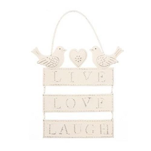 Live Love Laugh Cream Hanging Bird Heart Metal Sign