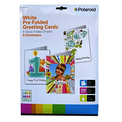 A4 Creative White Pre-Folded Cards & Envelopes - Polaroid – 8 Pack