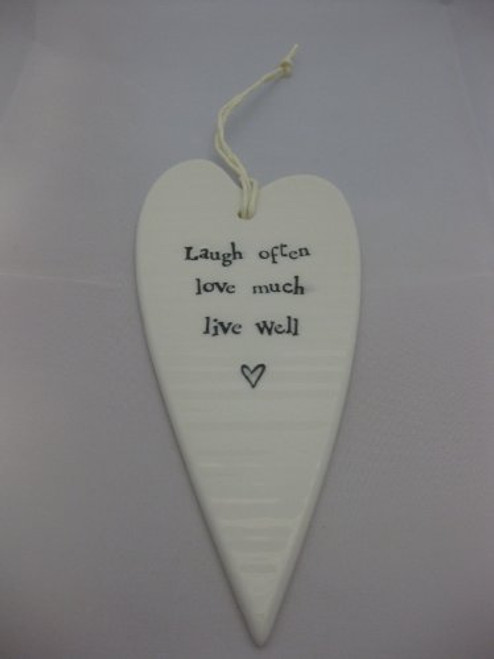 East of India 2032 White Porcelain Hanging Heart Live Well