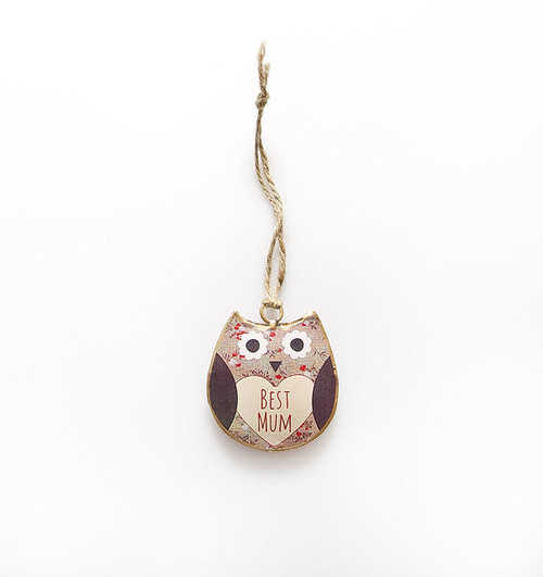 Shabby Chic Rustic Metal Florence Owl Best Mum Hanging Decoration By RJB Stone (Sass Belle) by RJB Stone (Sass Belle)