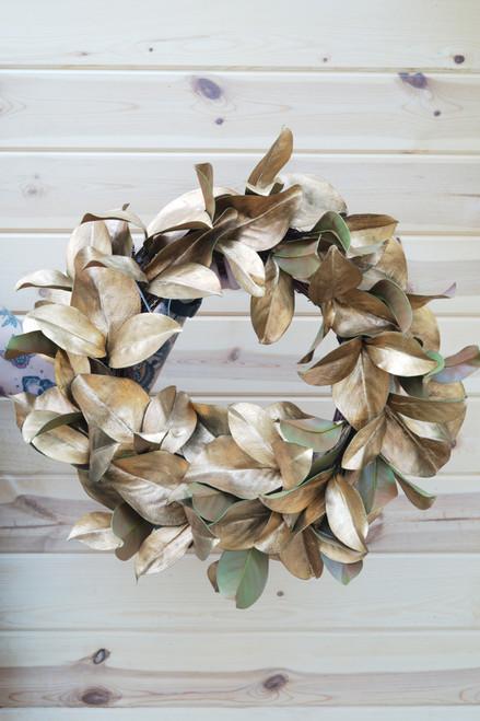 """24"""" Magnolia Gold Leaf Wreath (Faux)"""