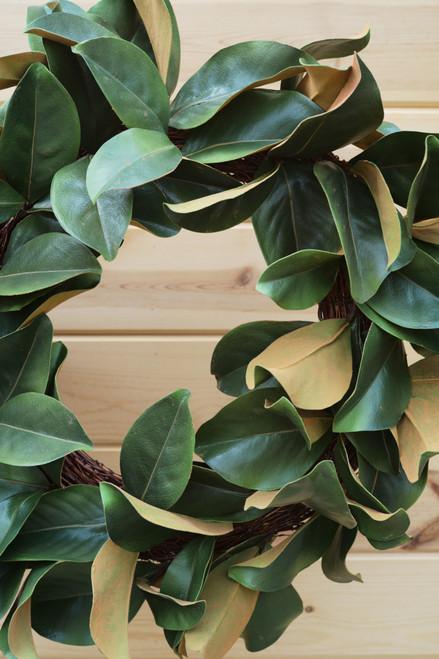 """24"""" Magnolia Leaf Wreath (Faux)"""