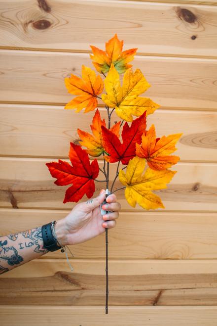 """23"""" Velvet Maple Leaf Spray in Orange"""