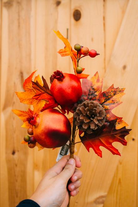 "16"" Pomegranate Pinecone Maple Spray (Faux)"