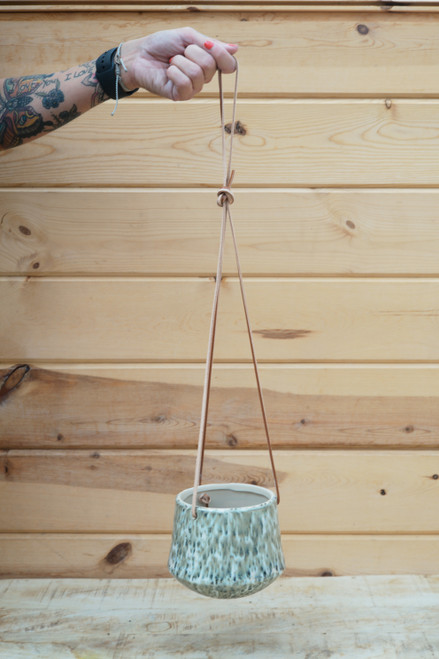 "4"" Hanging Planter w/Leather Straps"