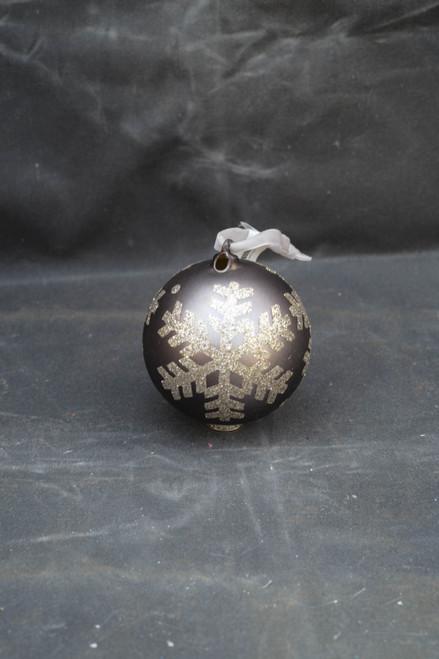 100mm Glitter Snowflake Glass Ornament