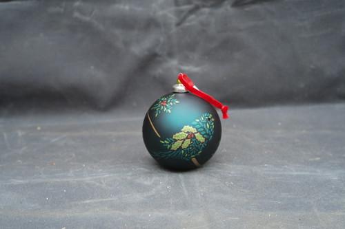 100mm Hand Blown Holly Bird Ornament