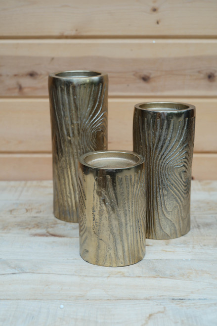 Gold Wood Grain Candle Holder