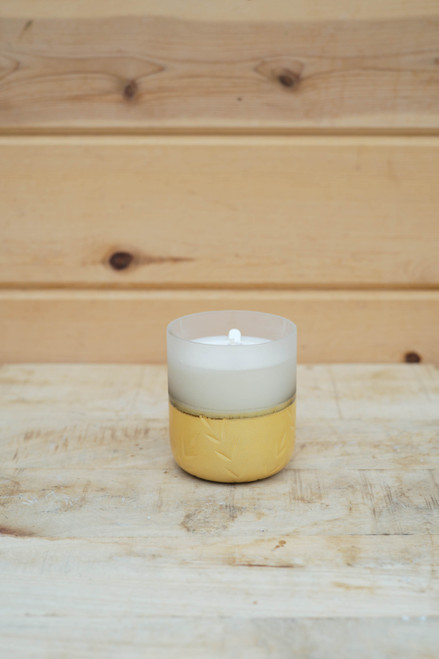 Small Frosted Candle in Winter White