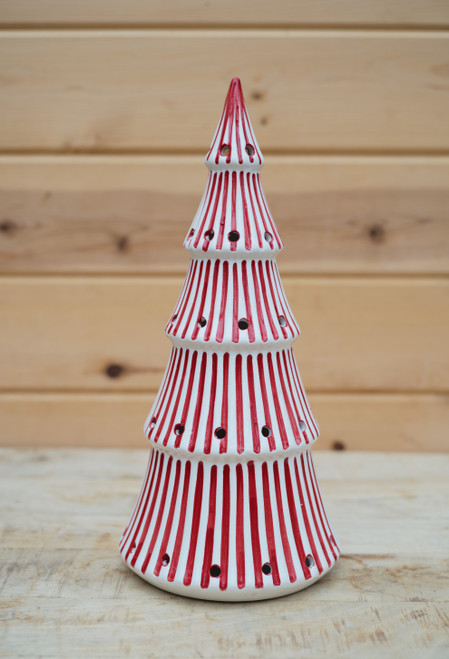 """14"""" Lighted Tree in Red Stripe"""