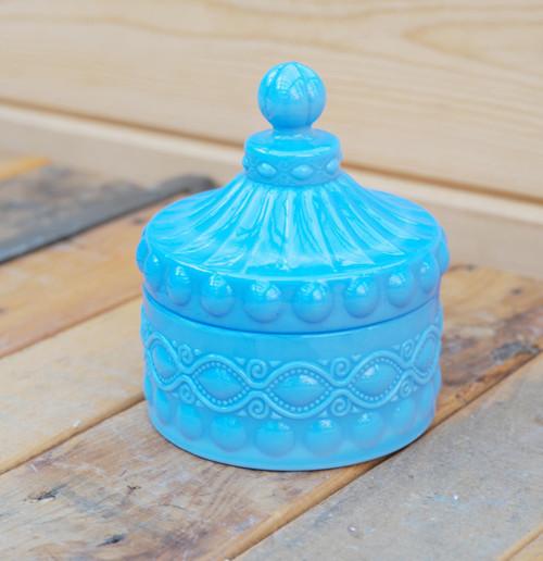 Azure Milk Glass Candy Dish
