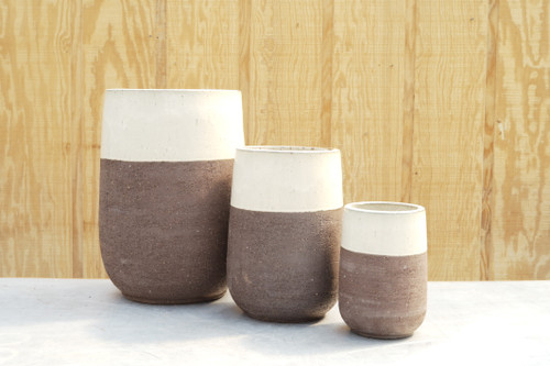 Chagos Tall Round Planter in Brown
