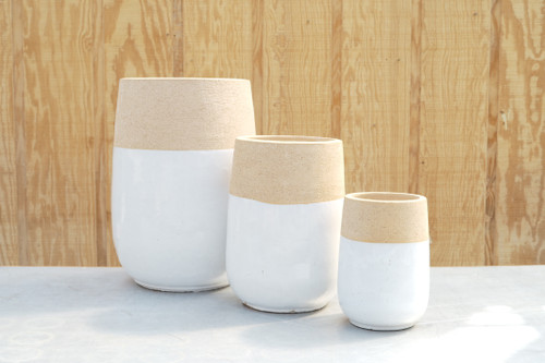 Chagos Tall Round Planter in White