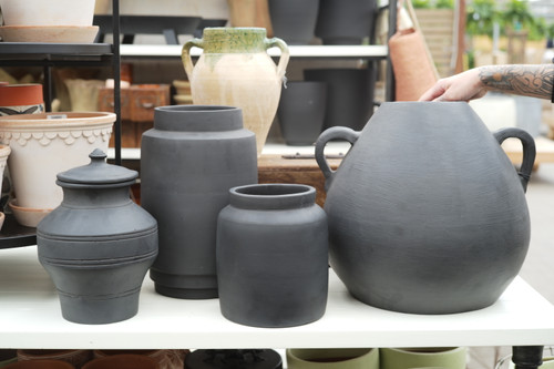 Terra Cotta Pot in Black