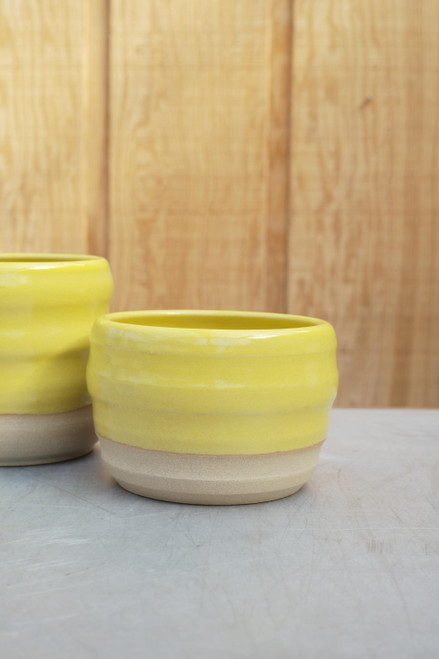Sandwich Ribbed Planter in Yellow