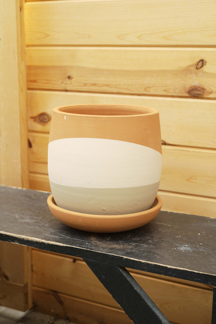 Color Dipped Clay Pot w/Saucer