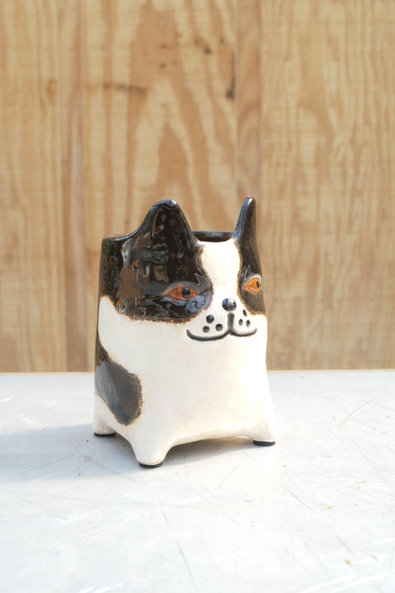 "6.25"" Stoneware Dog Planter"