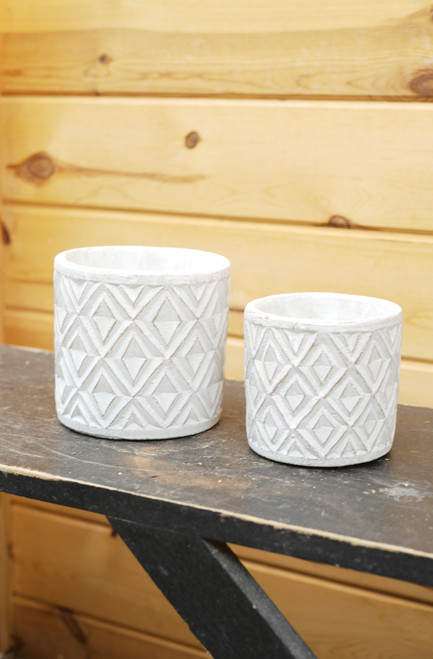 Patterned Pot in White