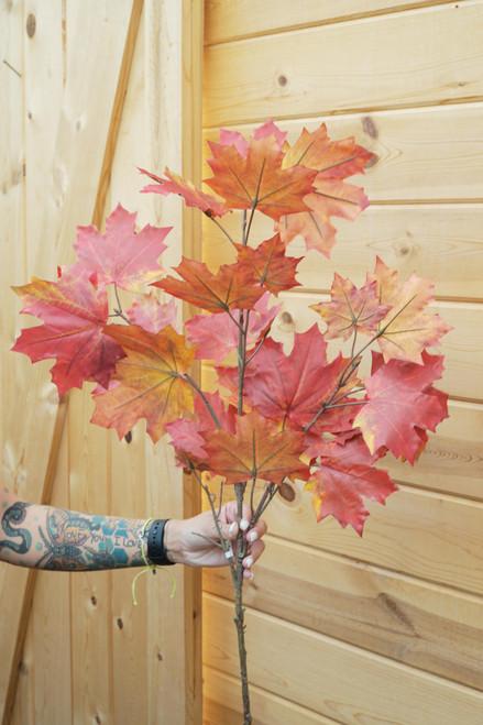 """44"""" Maple Leaf Spray in Burgundy (Faux)"""