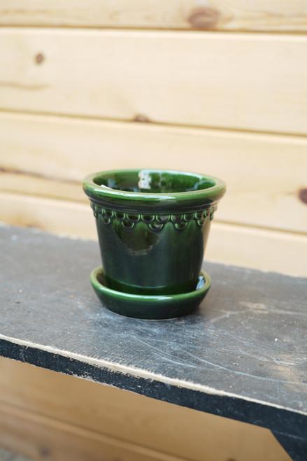 Bergs Small Kobenhavner Pot w/Saucer in Green