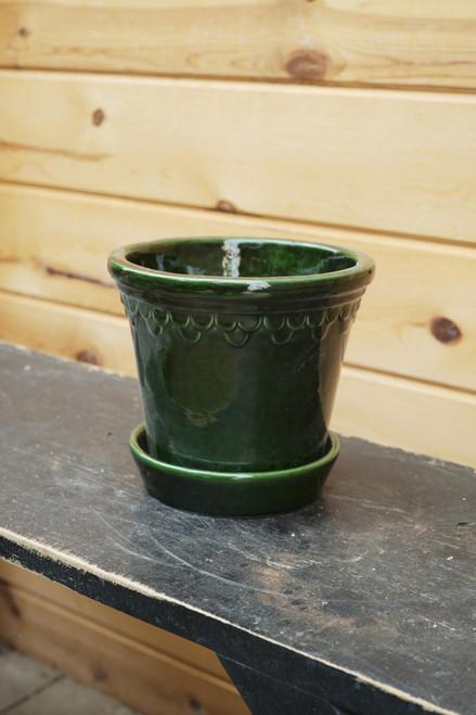 Bergs Medium Kobenhavner Pot w/Saucer in Green